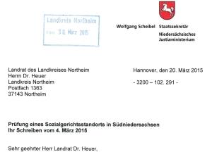 Ausschnitt aus dem Schreiben des Staatssekretärs an den Landkreis Northeim.