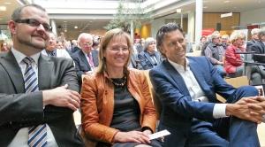 Urs Meier (r.) mit Bürgermeisterin Dr. Sabine Michalek und dem stellvertretenden Landrat Jens Hampe.