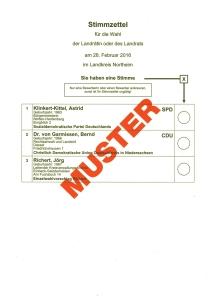 Musterstimmzettel Landratswahl.