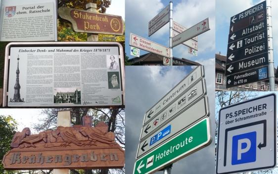 Viele verschiedene Wegweiser gibt es in Einbeck. Bild-Collage